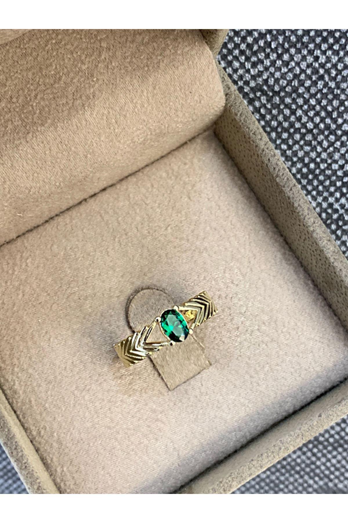 Yeşil Taşlı Fantazi  Altın Yüzük YZ0024