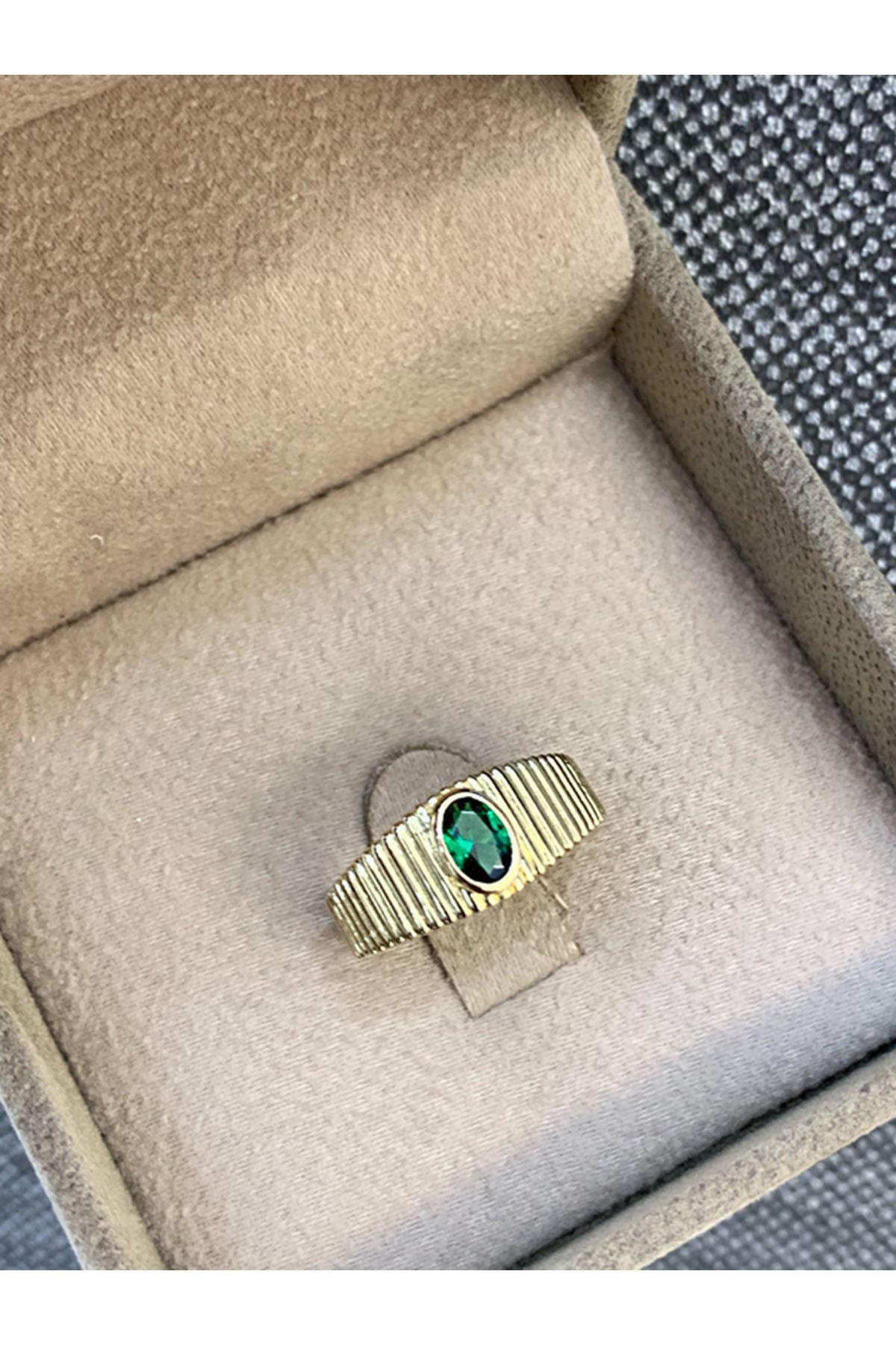 Yeşil Taşlı Fantazi  Altın Yüzük YZ0027