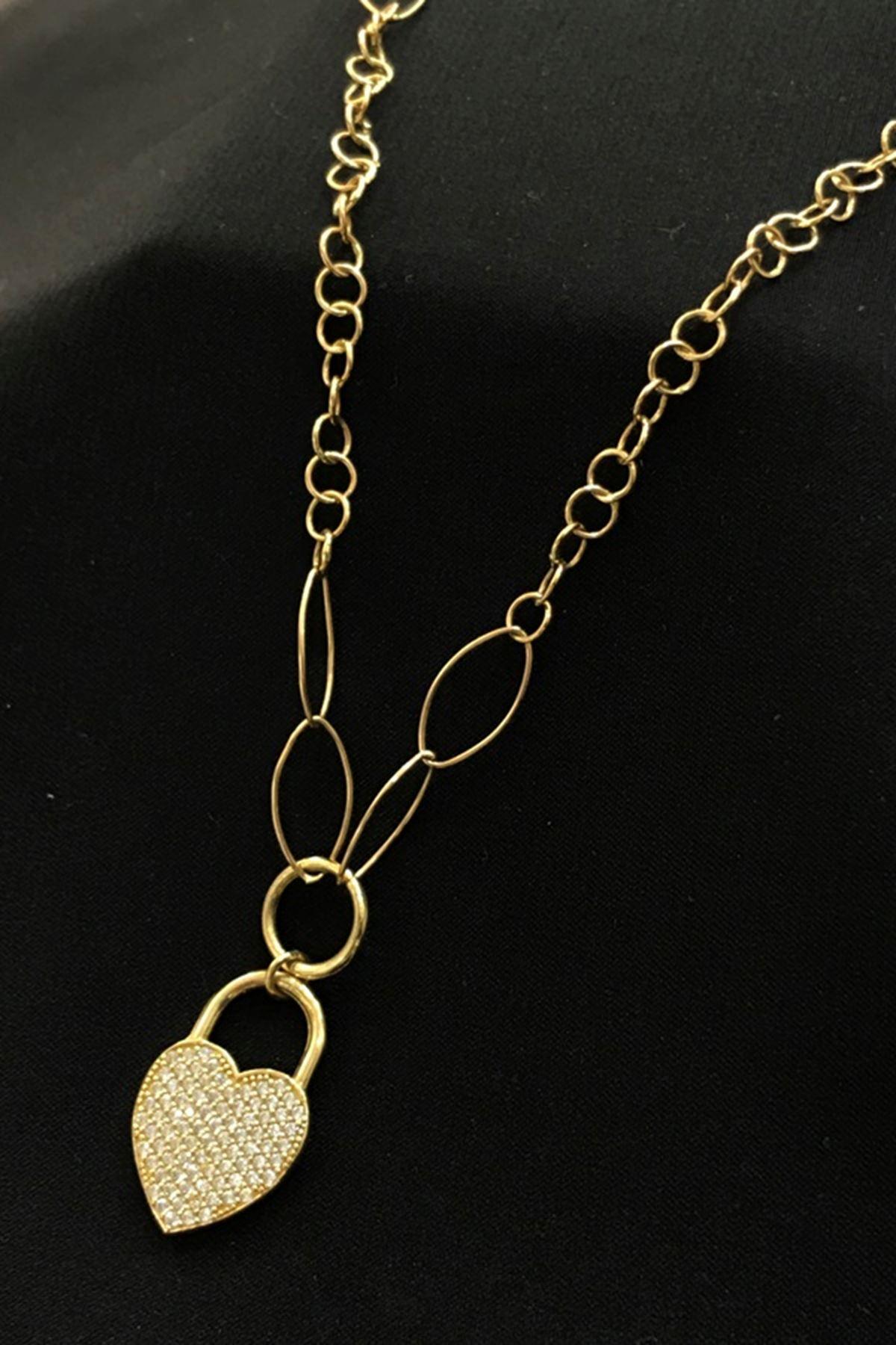 Kalp Detaylı Kilit Kolye KL0255