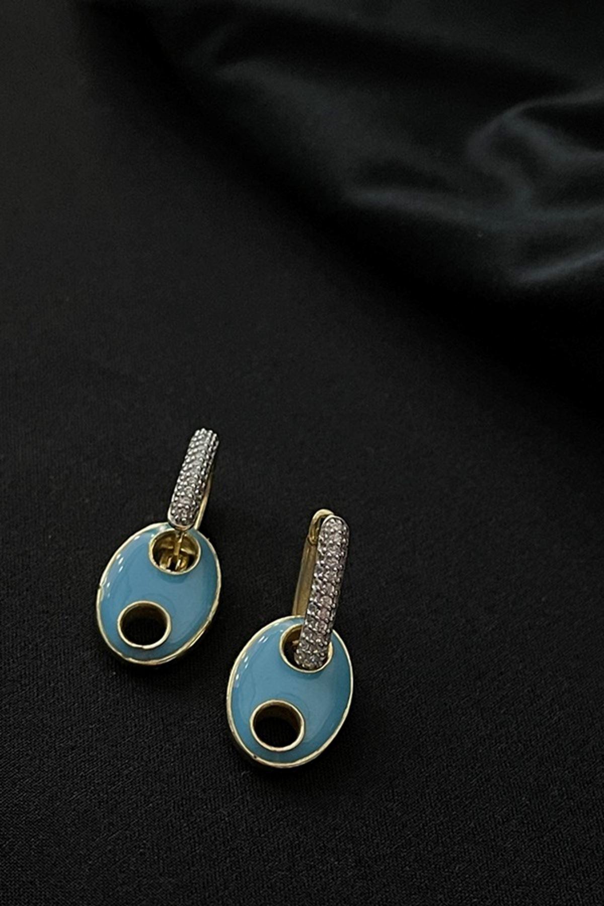 Mavi Mineli Küpe KP0101